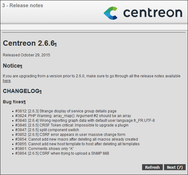 Centreon Upgrade 2.6.6 Changelog