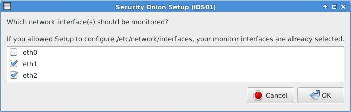 Security Onion - Auswahl Monitoring Interfaces